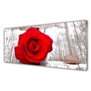 Küchenrückwand aus Glas 125x50cm Spritzschutz Rose Pflanzen