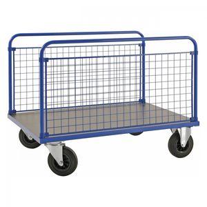 Kongamek Plattformwagen in blau 1000x700x900mm mit MDF-Platte und 2 stirnseitigen Gitterwänden mit Gummibereifung ohne Bremse