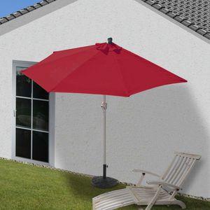 Sonnenschirm halbrund Parla, Halbschirm Balkonschirm, UV 50+ Polyester/Stahl 3kg  300cm bordeaux mit Ständer