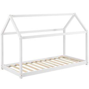 Juskys Kinderbett Carlotta 90 x 200 cm mit Lattenrost und Dach - Hausbett aus Massivholz Kiefer - Mädchen & Jungen - Bett in Weiß