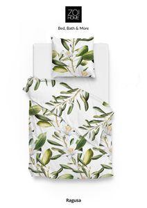 Zo! Home Baumwolle Bettwäsche 135x200 cm Ragusa green Lilien Blumen Blätter