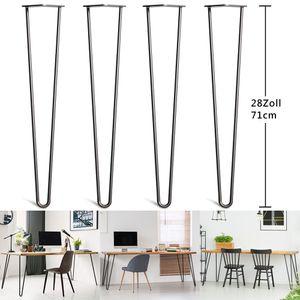 YOLEO 4x Hairpin Legs Tischbeine Möbelfüße Schreibtisch  &Esstischbeine für Couchtisch und Nachttisch - Schwarz Durchmesser 10 mm(71cm-2 Stange)