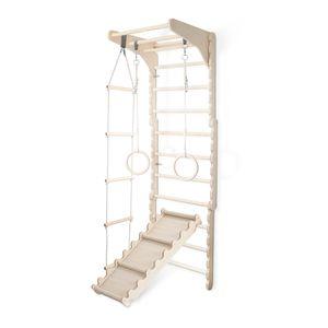 Sprossenwand Kinderzimmer Turnwand Kinder Kleinkinder | Indoor Turnen Wand aus Holz (210 cm) Turnringe Kinder + Strickleiter Schaukel + Kinderrutsche Holz