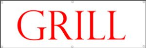 Werbeplane / Gerüstplane - p23 - Grill / Imbiss - Plane - Banner 150cm x 50 cm - für Baustelle, Garten, Zaun oder Veranstaltung