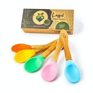 bambuswald© ökologisches 5er Set Kinderlöffel - Besteck für Kinder aus Silikon (biegsam) | Löffel