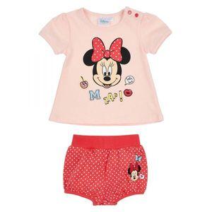 Disney Minnie Set, Zweiteiler, Glitzerdruck, rosa-rot, Gr. 62-92 3M - 18 Months