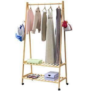 Casaria Kleiderständer Garderobenständer mit Rollen Bambus 152x70x43 cm 4 Haken 2 Ablagen Kleiderstange Wäscheständer