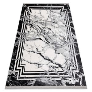 Modern Teppich TULS strukturell, Franse 51210 Marmor anthrazit Grau 140x190 cm
