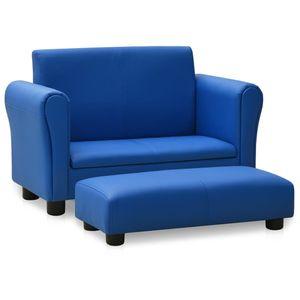 Kindercouch Kindersofa Babysessel Sofa Für Kinder mit Hocker Blau Kunstleder ☆4881