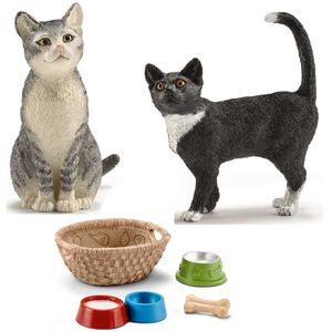 Schleich - 13770 Katze, stehend + 13771 Katze, sitzend  42293 Futter für Hunde & Katzen