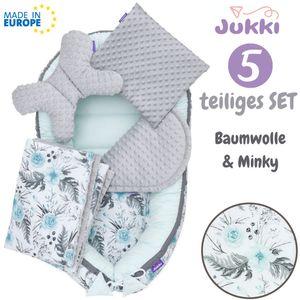 JUKKI® Baby Nestchen ✨ 5tlg MINKY SET für Neugeborene [MinzGarten & Grau] 2seitig Babynest + Matratze + Decke + 2xKissen