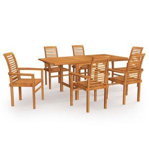 7-TLG. Garten-Essgruppe Lounge-Set Balkonset Sitzgruppe ,Tisch mit 6 Stühle, Massivholz Teak☆1702
