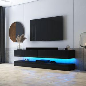 Selsey TV-Lowboard HYLIA Schwarz Matt/ Schwarz Hochglanz mit LED - Beleuchtung 140 cm breit