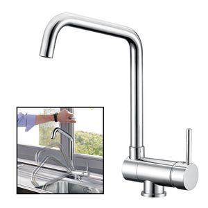 Vorfenster Küchenarmatur 360° drehbar Spültischarmatur Wasserhahn Küche Spültischbatterie Armatur Mischbatterie für Küche Chrom
