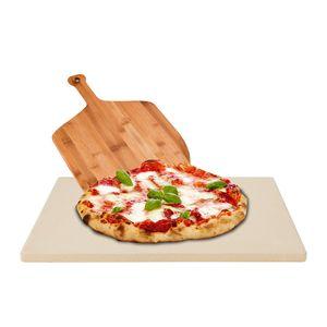 karpal Pizzastein 1,5cm fuer Backofen und Grill inkl. Bambus Holz Pizzaschaufel, Hitzebestaendige Brotbackstein 38 x 30 x 1,5 cm