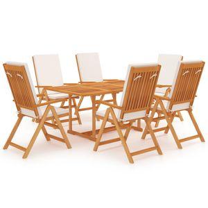 Gartenmöbel Essgruppe 6 Personen ,7-TLG. Terrassenmöbel Balkonset Sitzgruppe: Tisch mit 6 Stühle, mit Kissen Massivholz Teak❀1668