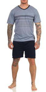 Herren Sommer Pyjama Short & T-Shirt Schlafanzug, Blau M