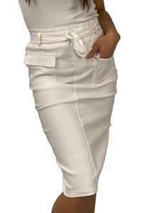 Damen Denim Stretch Rock Jeans Look Knielang Basic Skirt Dicke Kontrast Naht mit Schlitz & Gürtel, Farben:Weiß, Größe:L-XL