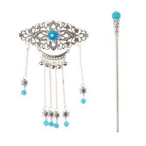 Frauen Antike Silberne Blumenquasten Haarstab Essstäbchen Haarnadel Handgefertigt Farbe Blau