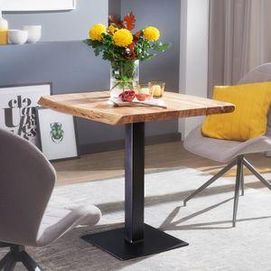 WOHNLING Esstisch Baumkante 80 x 75 x 75 cm Akazie Massivholz Esszimmertisch | Kleiner Holztisch Esszimmer | Designer Küchentisch Quadratisch
