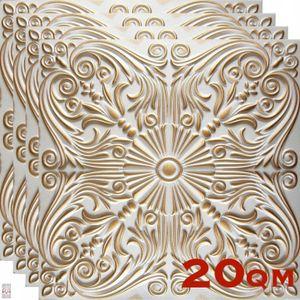 (!!! Sparpaket 20 qm / 80 Stück !!!) 3D Wandpaneele Wandverkleidung Deckenpaneele Platten Paneele Barock Polystyrol Material