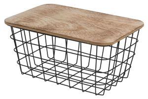 Aufbewahrungskorb Korb mit Deckel Industrial look Kiste Metall Holz 31x22x15 cm