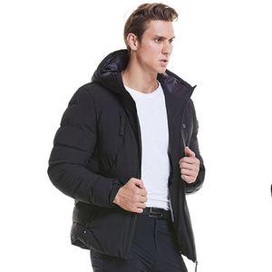 Winter Männer Electric Coat Weste beheizte Stoffjacke USB Warm Up Hoodies Heizkissen Body Warmer,Farbe: Schwarz,Größe:L