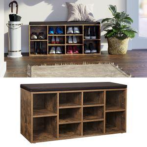 VASAGLE Schuhregal mit Sitzkissen, für 10 paar Schuhe, 104 x 48 x 30 cm, aus Holz, Schuhbank, Schuhschrank, dunkelbraun LHS10BX