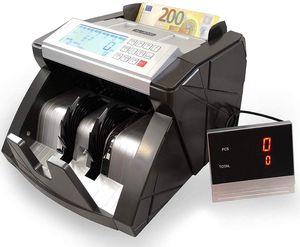 Banknotenzähler Geldzählmaschine Geldscheinzähler Wertzähler Geldzähler Geldscheinprüfer erkennt auch alle neuen 100 und 200 EUR Scheine - Prüft und zählt unsortierte Euroscheine