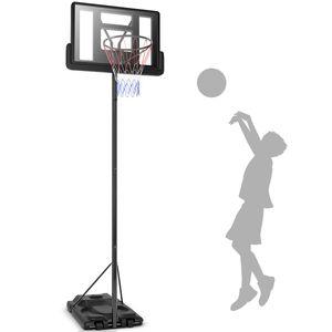 COSTWAY Basketballkorb mit Ständer 260-305cm höhenverstellbar, Basketballständer Wasser/Sand befüllbar, Basketballanlage für Jugendliche, Erwachsene 97x65x360cm