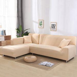 Sofa Überwürfe 2 teilig 2 Sitzer + 2 Sitzer, Elastisch Stretch Sofabezug L Form 2er Set mit 2 Stück Kissenbezug Sofabezüge Sofa Überzug Couch Bezug Sofaüberwurf L Form Sofa Abdeckung (Beige,L Form 2 Sitzer + 2 Sitzer)
