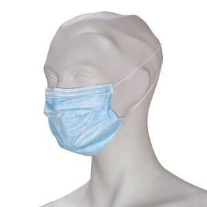 Einweg Mundschutz, medizinischer OP-Mundschutz EN 14683 Typ II, blau, 3-lagig, hochwertig, mit Gummischlaufen (Ohrgummis), PP-Vlies, formbarer Nasenbügel, , 50 Stück (Blau)