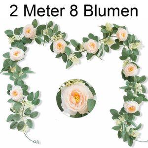 Melario Rosengirlande mit grünen Blättern Seidenblumen, Dekoration für Haus Hochzeit 2M