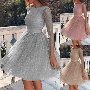 Damenmode Langarmkleid, High Waist Abendkleid, Cocktailpartykleid, Mode Kleidung ,Grau_GrößeXXXL