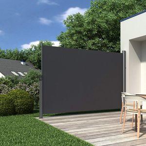 SONGMICS 160 x 350 cm ( H x L ) Seitenmarkise für Balkon und Terrasse Sichtschutz Sonnenschutz Seitenrollo rauchgrau GSA165G