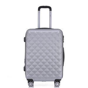 Reise Koffer 2066 Hartschalenkoffer Trolley Reisekoffer M Silber 4 Rollen Roll-Koffer Handgepäck