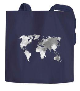 Jutebeutel Weltkarte Wasserfarben Watercolor World Map Baumwolltasche Stoffbeutel Einkaufstasche Autiga® navy 2 lange Henkel