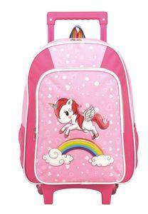 STEFANO Kinder Reisegepäck Handgepäck Trolley Einhorn Unicorn Set Pink mit Regenbogen für Mädchen