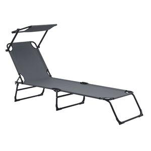 [casa.pro] Sonnenliege klappbar 190cm dunkelgrau mit Dach Relaxliege Stahl