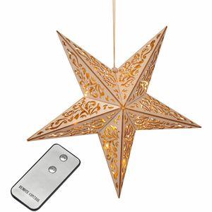 LED Weihnachtsstern Holz Fernbedienung Adventsstern Leuchtstern Fröbelstern
