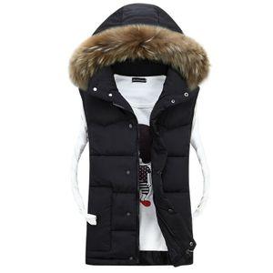 Unisex Abnehmbare Kapuzen Gepolsterte Daunenjacke Weste Ärmellose Jacke,Farbe: Schwarz,Größe:M