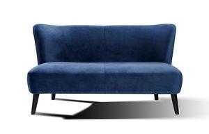 SIT Möbel Sofa 2-Sitzer mit Samtbezug in blau & schwarzen Beinen|B143 x T77 x H80 cm|06037-13|Serie SIT4SOFA