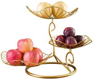 3 Etagen Obstkorb Metall,Obstschale dekorativer Obstkorb für mehr Platz auf Ihrer Arbeitsplatte(Gold)