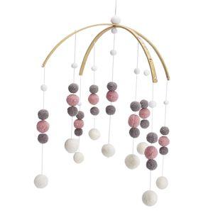 Mobile Filzball Windspiel Hängende Deko Decken Anhänger für Babybett Farbe Pink und Grau