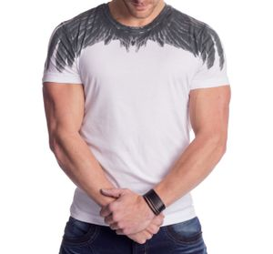 Herren Print T-Shirt Eagle Wings H1341  , Farben:Weiß, Größe T-Shirt:L