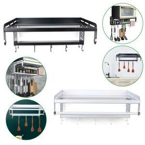 Mikrowellenhalter Mikrowellen Halterung Aluminiumlegierung Halter Microwelle Regal mit 8 Haken 2 Ablagen für Küche (Silber)