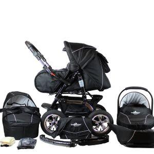 Bergsteiger Milano Kinderwagen, 3-in-1 Kombikinderwagen, Megaset 10-teilig inkl. Babyschale, Sportwagen und Zubehör