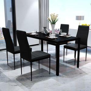 5tlg. Esstisch Set, Mit 1 gehärtetes Glas Tisch und 4 Kunstleder Stühlen, Schwarz