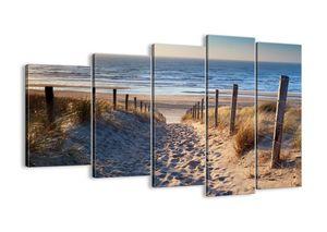 """Leinwandbild - 150x100 cm - """"Das Rauschen des Meeres, das Singen von Vögeln, ein wilder Strand zwischen den Gräsern ...""""- Wandbilder - Meer Strand Dünen  - Arttor - EG150x100-3612"""