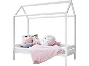 Hoppekids IDA-MARIE Haus Bett Weiß 70x160cm mit Lattenrost und Rückenleiste
